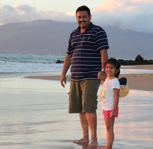 Arvind Ramanathan with his daughter